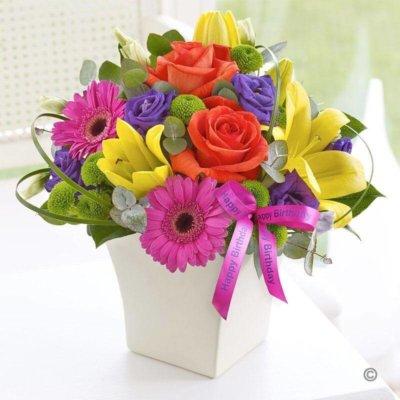 Happy Birthday Vibrant Exquisite Arrangement