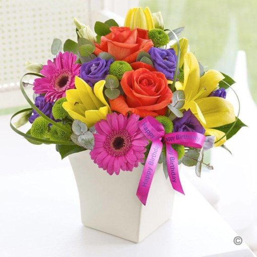 Happy Birthday Vibrant Exquisite Arrangement