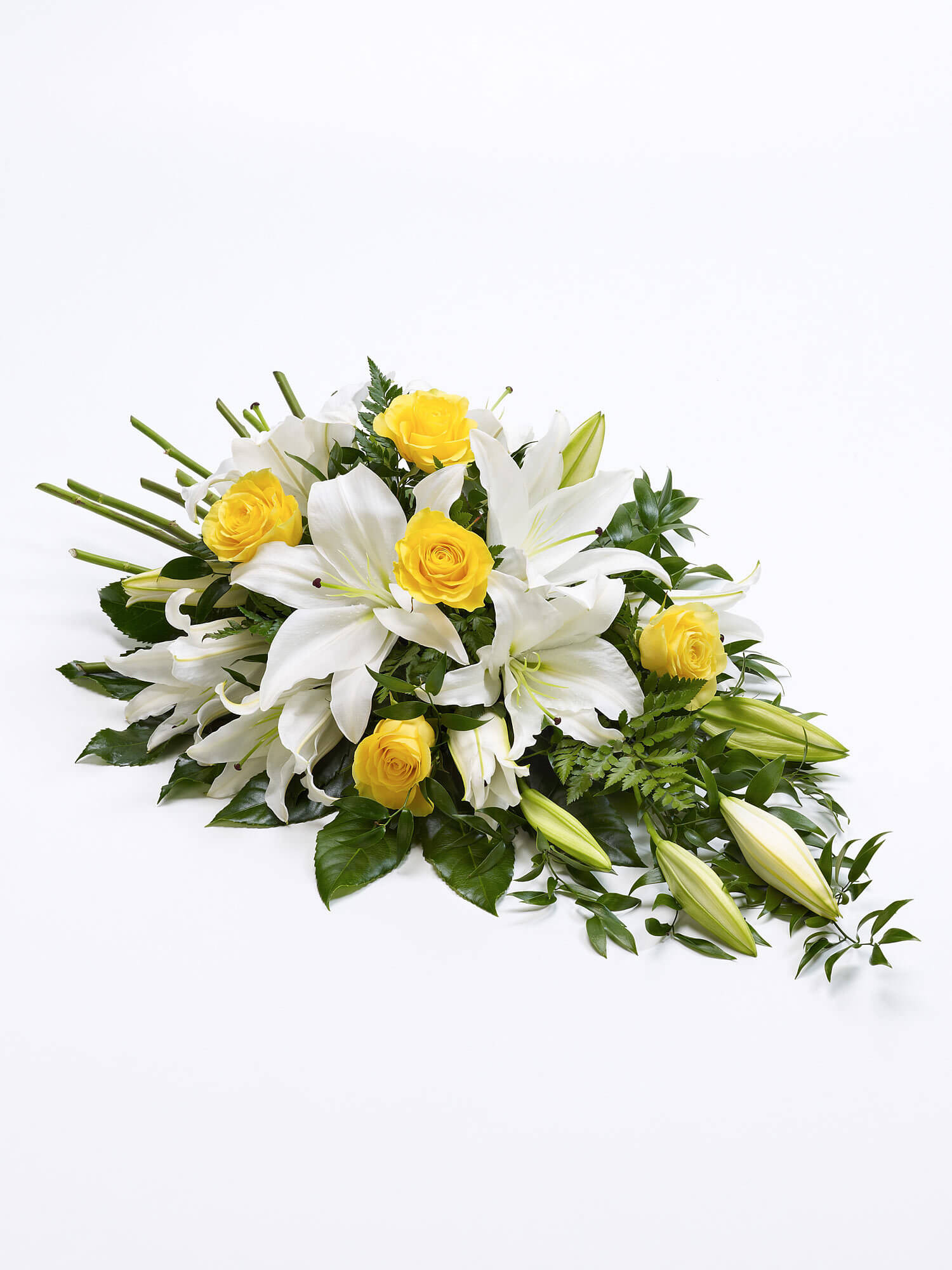 Yellow and White Rose and Lily Spray