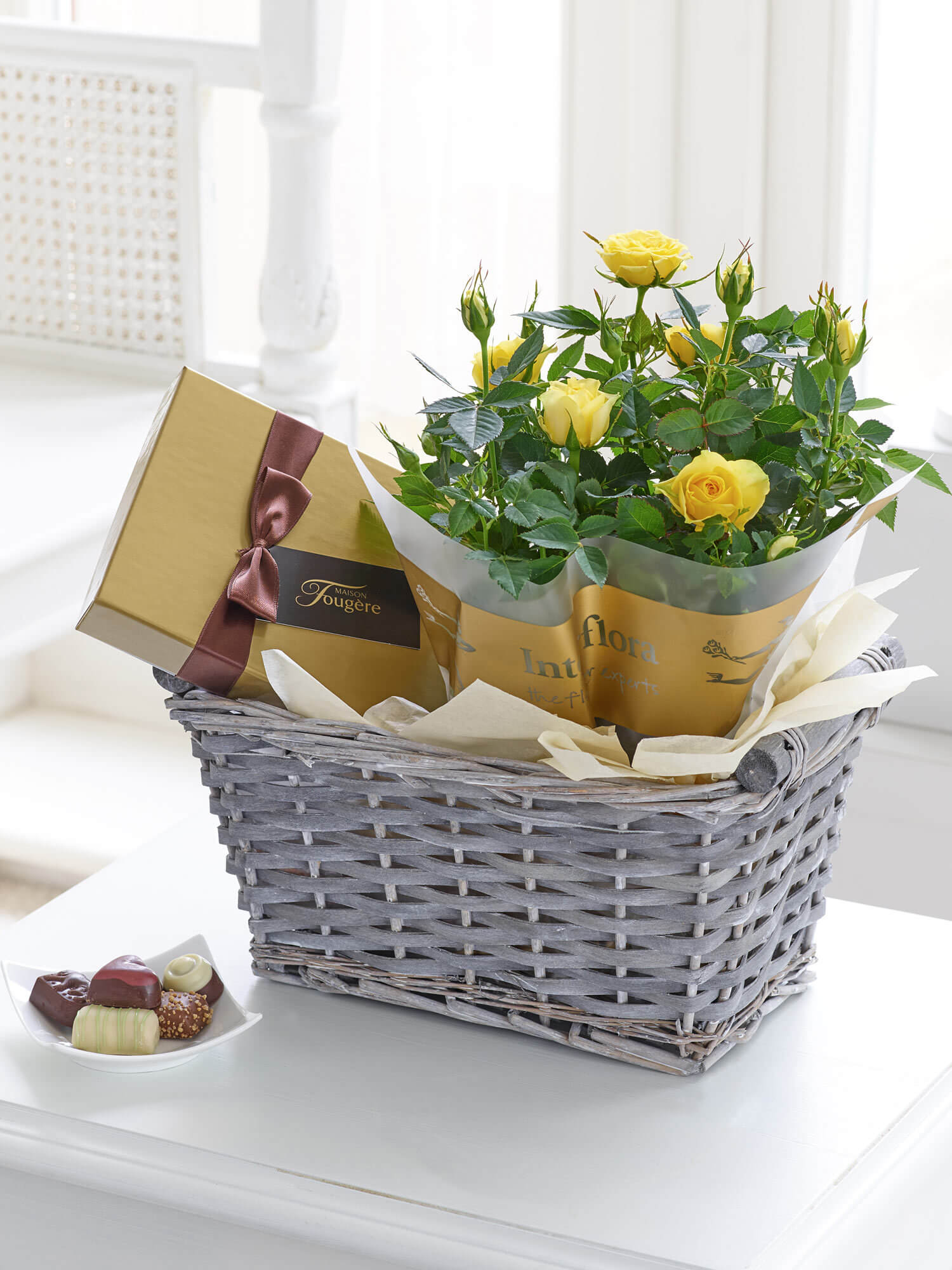 Spring Rose and Chocolates Gift Basket