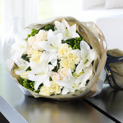 Luxury Oriental Lily and Rose Hand-tied