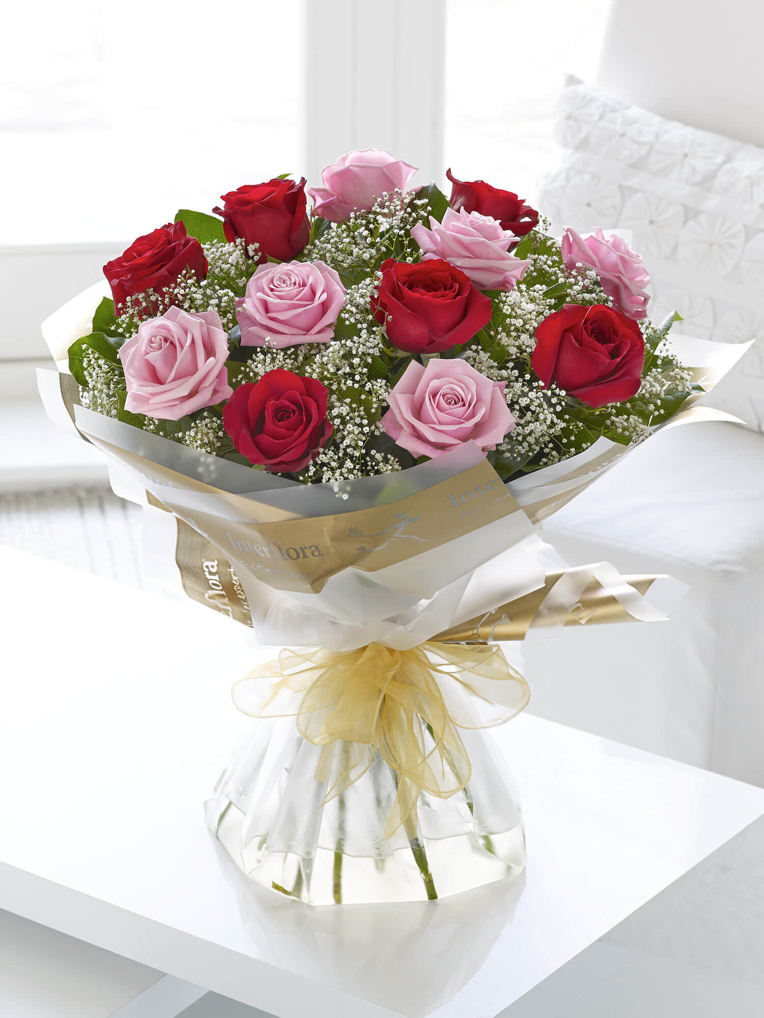 Heavenly Red and Pink Rose Hand-tied with Vase