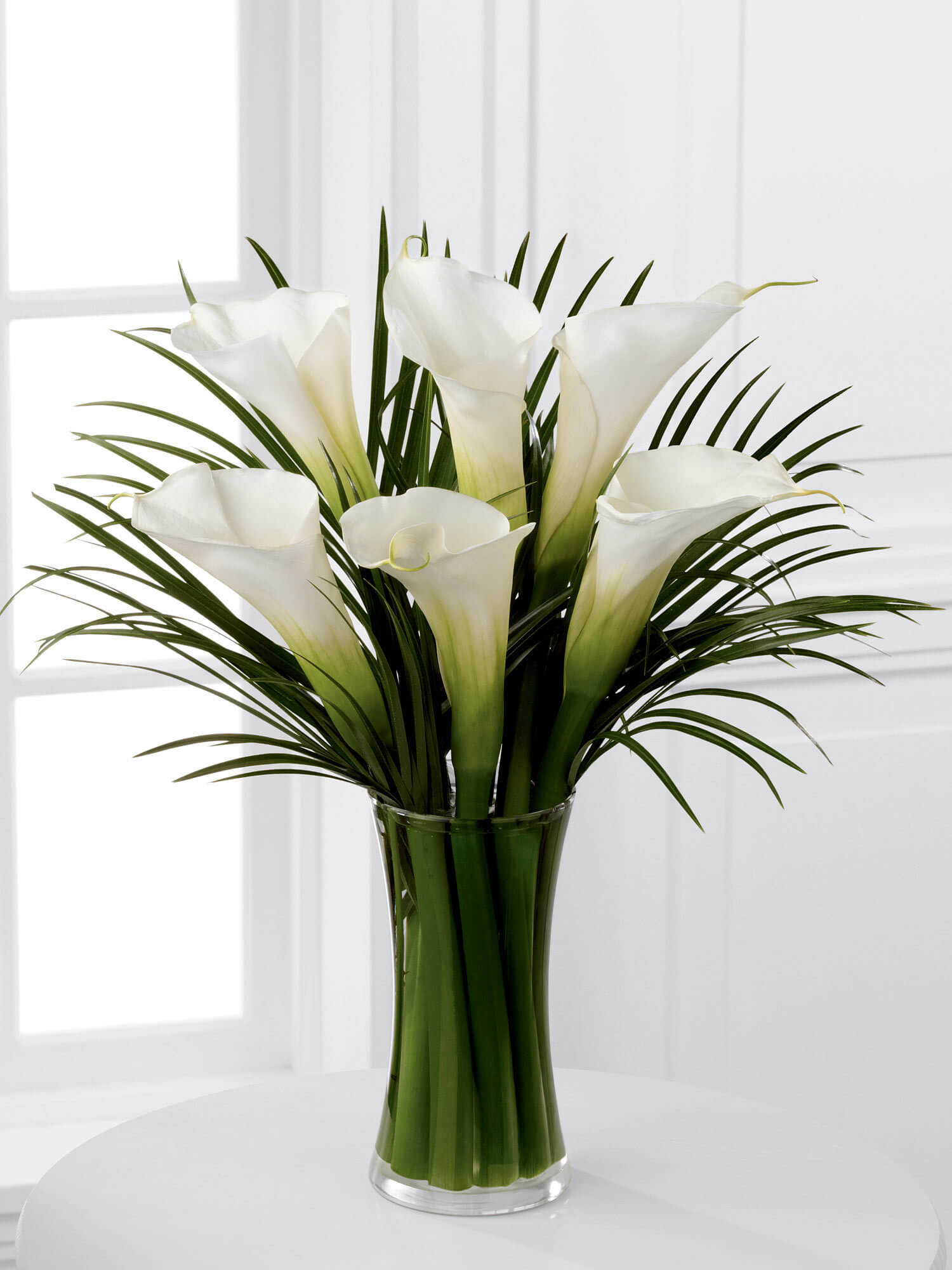 Luxury White Calla Lily and Palm Vase