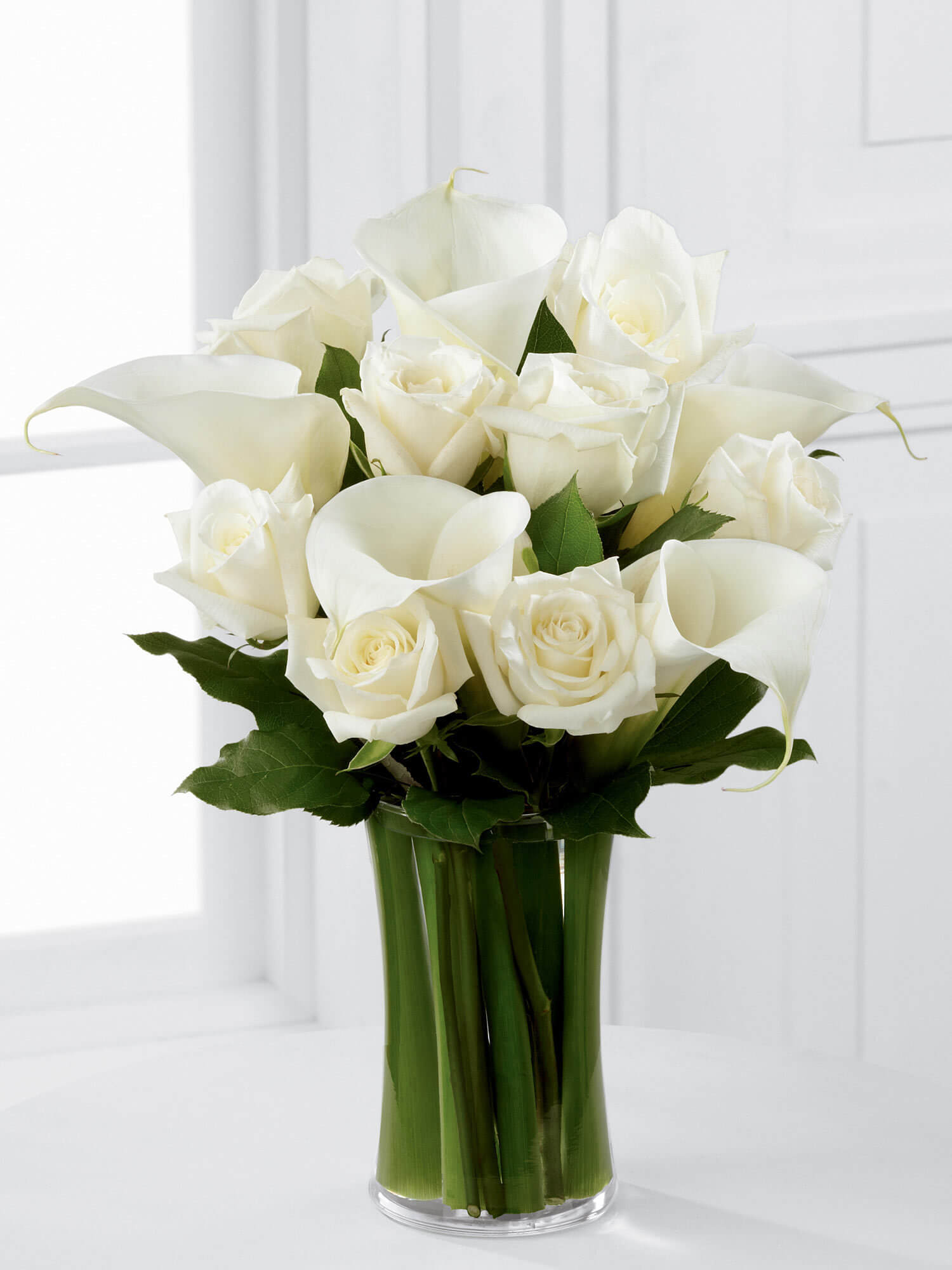 Luxury White Rose and Calla Lily Vase