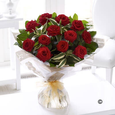 12 Long Stem Grand Prix Roses Hand tied