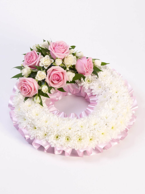 White and Pink Traditional Wreath