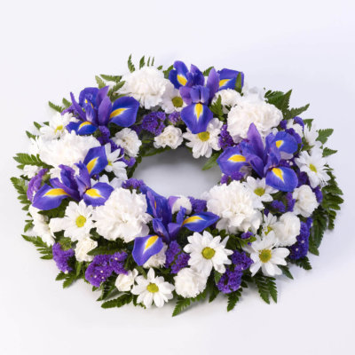 Blue and White Classic Wreath