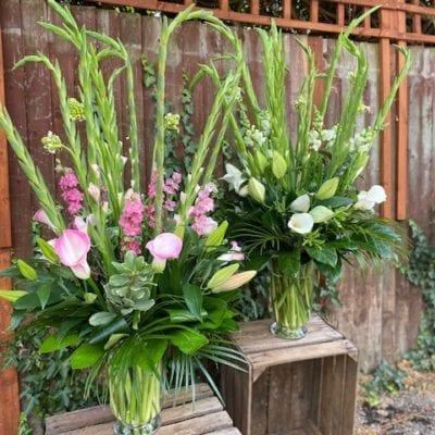 Luxury vase arrangement seasonal flowers