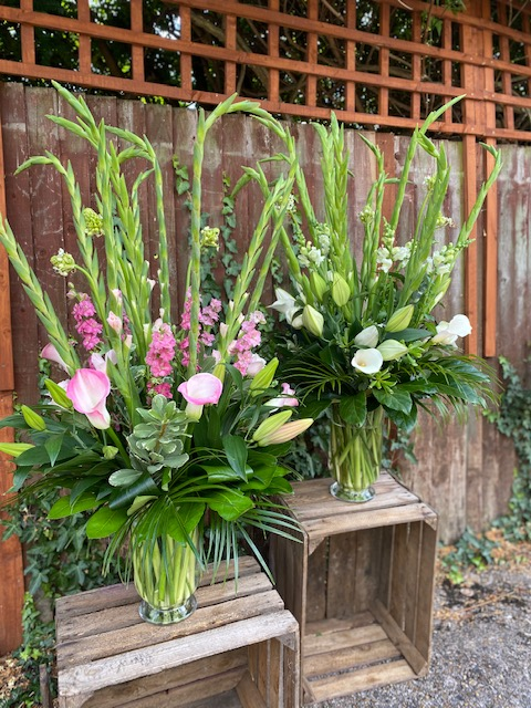 Luxury vase arrangement seasonal flowers