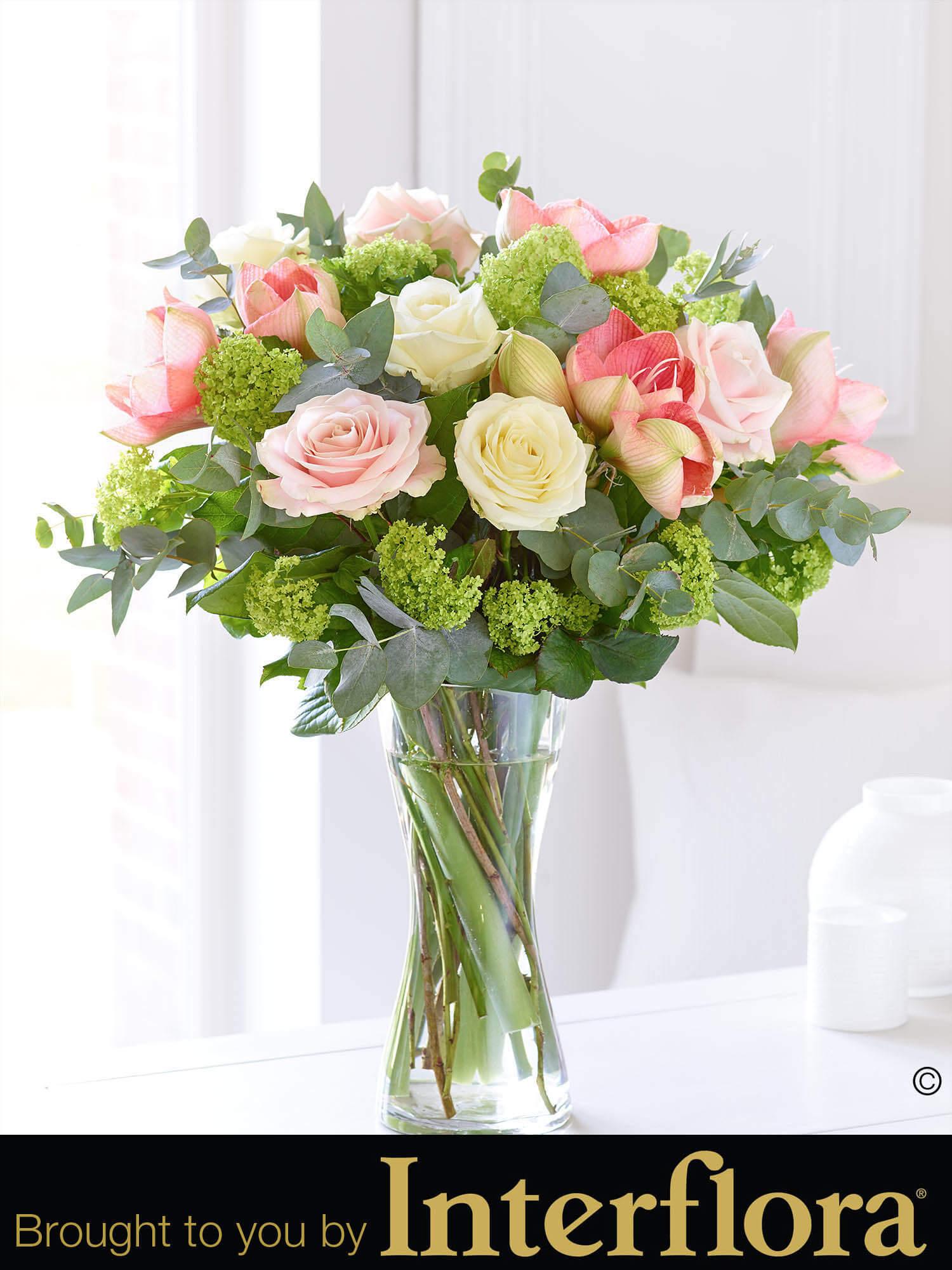 Elegant rose amaryllis hand tied with vase bbl design for Amaryllis rose